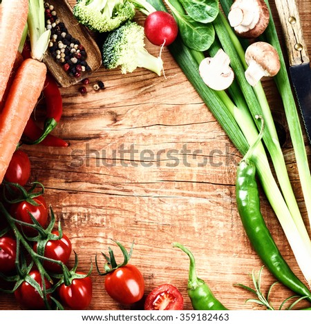 Frame with fresh organic vegetables. Healthy eating concept with copy space