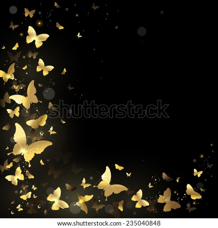 frame with gold butterflies on a black background - stock photo