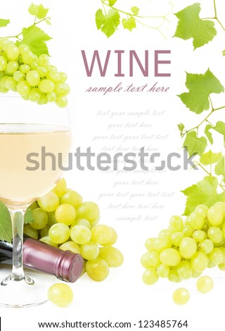 Frame with grapes branches, wine glass, vine and wine bottle isolated on white background with sample text - stock photo