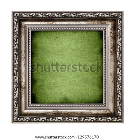 frame with green canvas isolated on white background - stock photo