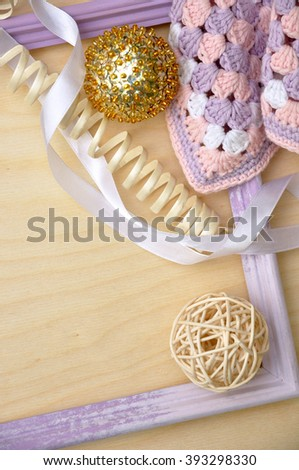 Frame with lace and ribbon  - stock photo