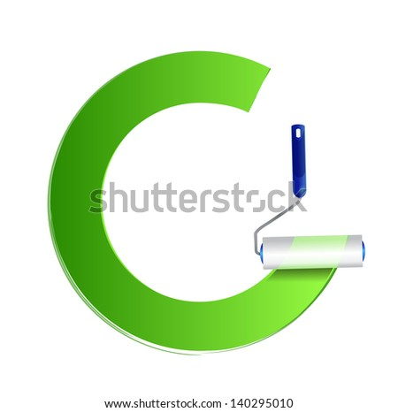 Frame with paint roller - green. illustration design over white - stock photo