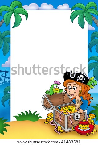 Frame with pirate girl and treasure - color illustration. - stock photo