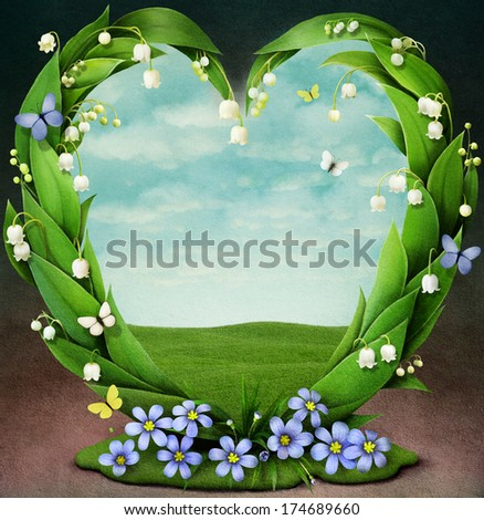 Frame with spring flowers in  shape of heart - stock photo