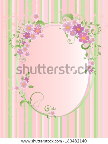 Frame with stripes and flowers. Raster copy - stock photo