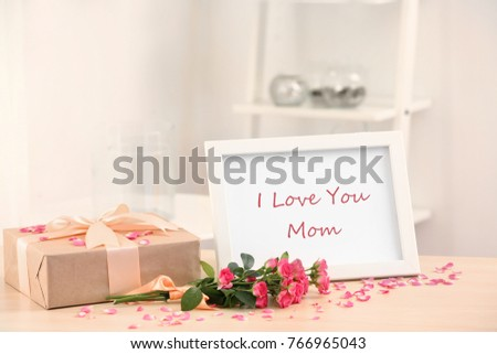 Frame Text LOVE YOU MOM Gift Stock Photo (Royalty Free) 766965043 ...