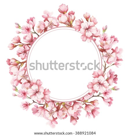 Spring Pink Blossom Watercolor Wreath Stock Illustration 581550424