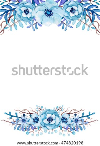 Frame With Watercolor Light Blue Flowers Leaves And Tree Branches