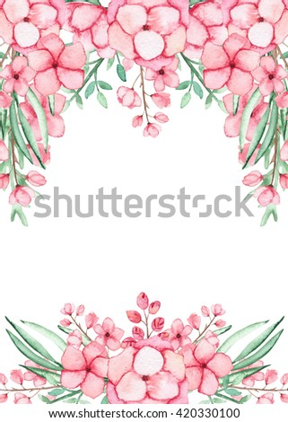 Frame With Watercolor Light Pink Flowers