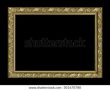 Frame wooden Antique Carved pattern isolated on a black background. - stock photo
