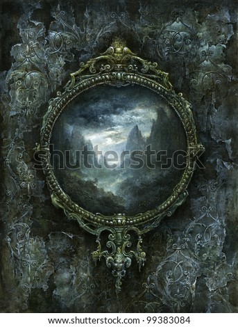 Framed mountain landscape - stock photo