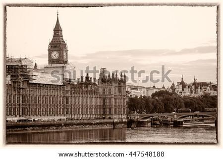 Framed vintage picture of Big Ben in London, UK. - stock photo