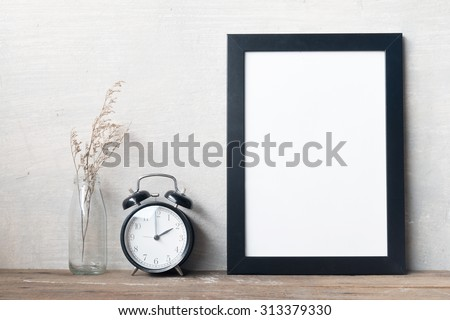 Frames and clock - stock photo
