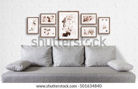 Frames Collage Floral Posters On Bricks Stock Photo Edit Now