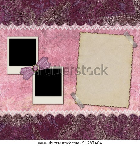 Frames for photos of various formats, on burgundy background