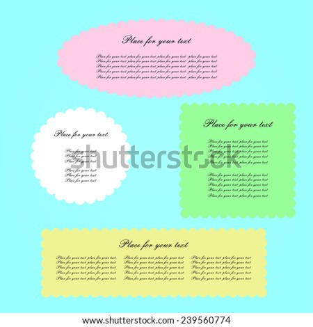 Frames of different colors and shapes to write your text. - stock photo