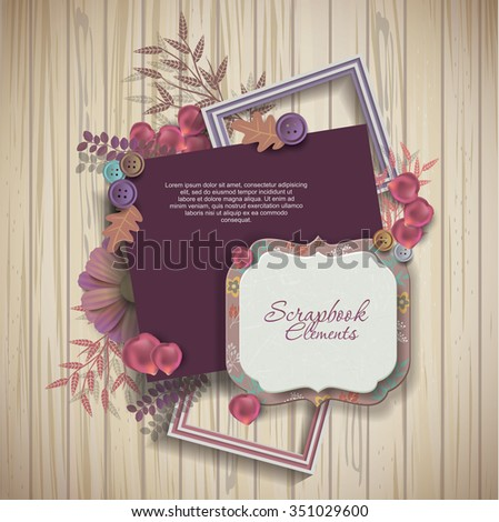 frames & scrapbook elements on wooden texture - stock photo