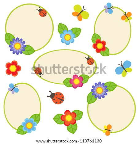 Frames with flowers and butterflies. Raster version. - stock photo