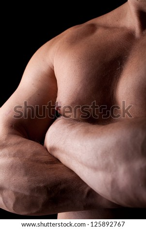 framing closed trunk of a muscled man