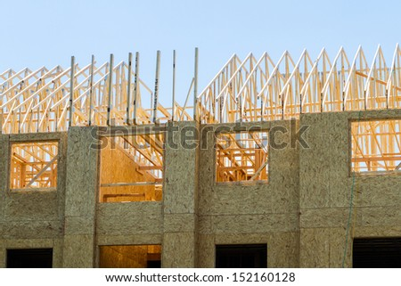 Framing of typical apartment complex. - stock photo