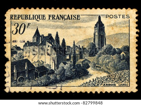 FRANCE - 1951: A stamp printed in France shows Arbois (Jura), circa, 1951