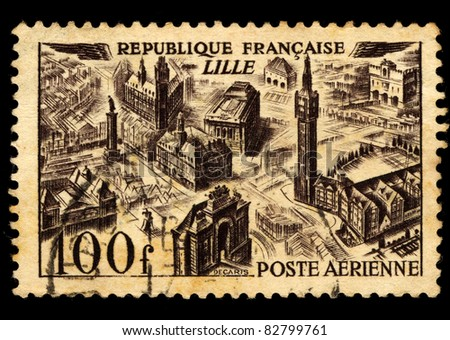FRANCE - 1949: A stamp printed in France shows image of Lille, circa, 1949