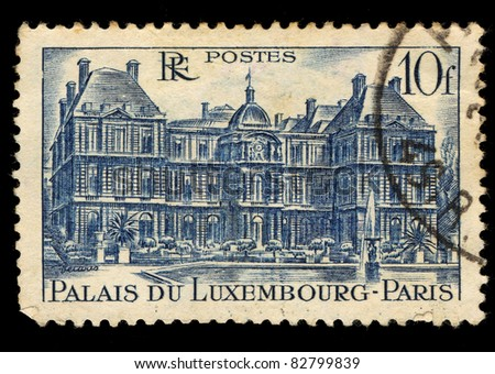 FRANCE - 1946: A stamp printed in France shows Palais Du Luxembourg, Paris (Luxembourg Palace), circa, 1946