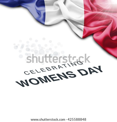 France Abstract waving Flag and Plain background with Typography Celebrating Women Day 8th March