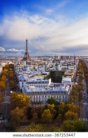 France: aerial view of Paris skyline; Eiffel Tower (Tour Eiffel) on background.