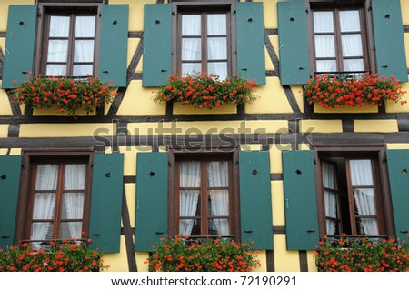 France, Alsace, old houses in Ribeauville