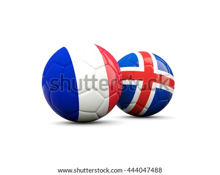 France and Iceland soccer balls isolated on white. 3D illustration - stock photo