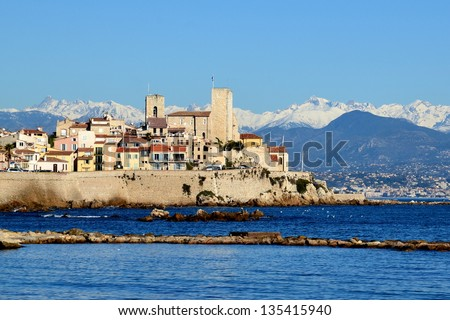 France, Antibes, old town, on the french riviera is an historic city surrounded with ramparts which shelters the museum dedicated to the artist Pablo Picasso in the Grimaldi castle. - stock photo