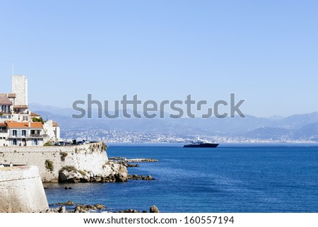 France , Antibes . View of the bay and yacht Antibes - one of the cities of the Co´te d'Azur France