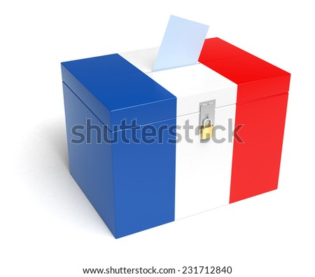 France ballot box with French Flag. Isolated on white background. - stock photo