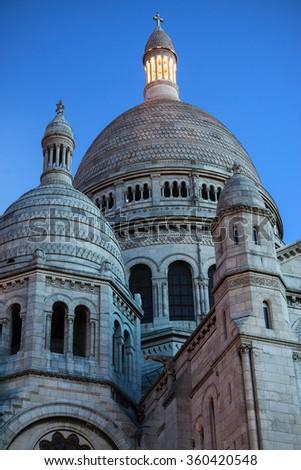 France: Basilica of the Sacred Heart of Paris (Sacre-Coeur) at dusk - stock photo