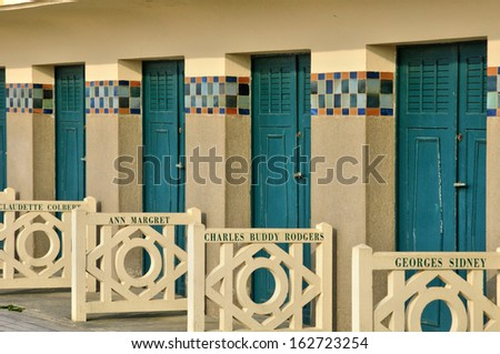 France, beach huts of Deauville in Normandie