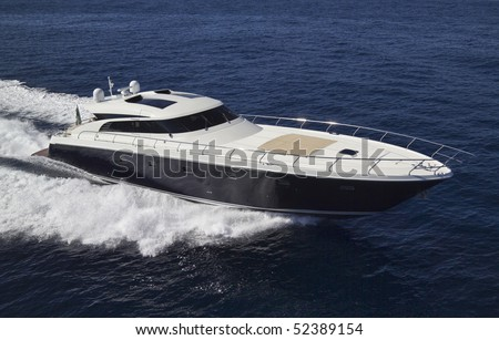 France, Cannes, luxury yacht Continental 80' (boatyard: Cantieri Navali del Mediterraneo), aerial view