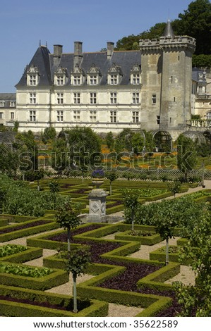 France, castle of Villandry, French formal garden