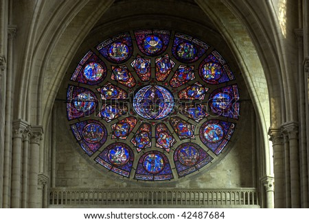 France, church of Mantes La Jolie, stained glass window