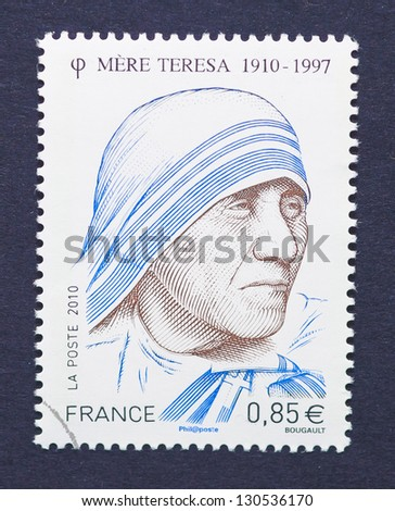 FRANCE - CIRCA 2010: a postage stamp printed in France showing an image of Nobel Peace Prize winner Mother Teresa, circa 2010. - stock photo