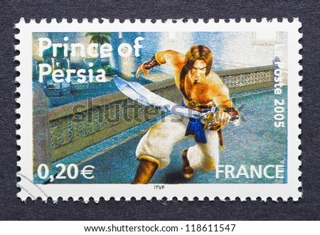 FRANCE - CIRCA 2005: a postage stamp printed in France showing an image of Prince of Persia video game, circa 2005.