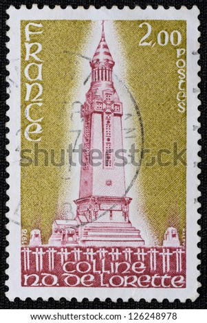 FRANCE - CIRCA 1978: A postage stamp printed in France shows the Colline Notre Dame de Lorette - Memorial of World War I, circa 1978 - stock photo