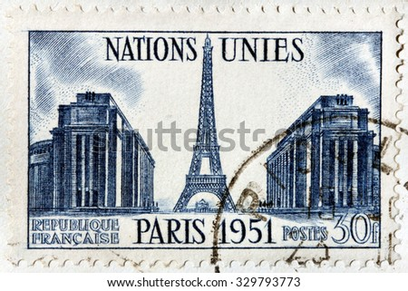 FRANCE - CIRCA 1951: A stamp printed by FRANCE shows beautiful view of the Eiffel Tower and The Palace de Chaillot in Paris, circa 1951