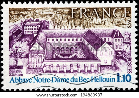FRANCE - CIRCA 1978: A stamp printed by FRANCE shows Bec Abbey (Abbaye Notre-Dame du Bec) in Le Bec Hellouin, Normandy, France, circa 1978