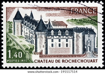 FRANCE - CIRCA 1975: A stamp printed by FRANCE shows Chateau de Rochechouart - thirteenth-century French castle, located at the top of the confluence of the Grene and Vayres rivers, circa 1975 - stock photo