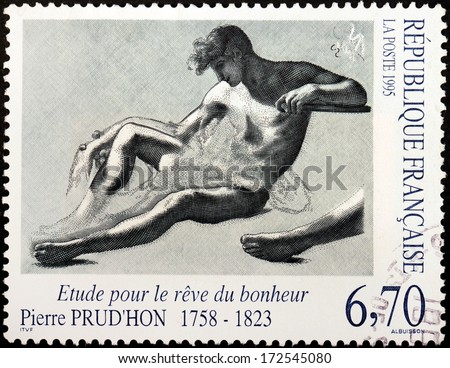 FRANCE - CIRCA 1995: A stamp printed by FRANCE shows Design The Dream of Happiness (Etude pour le reve du bonheur) by  French Romantic painter and draughtsman Pierre Prudhon, circa 1995 - stock photo