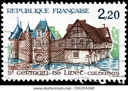 FRANCE - CIRCA 1986: A stamp printed by FRANCE shows famous chateau at commune Saint-Germain-de-Livet in Calvados department in Basse-Normandie region in northwestern France, circa 1986 - stock photo