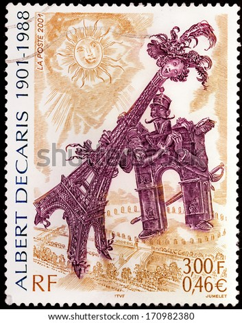FRANCE - CIRCA 2001: A stamp printed by FRANCE shows image of the Arch of Triumph courting the Eiffel Tower by famous French artist, engraver and painter Albert Decaris, circa 2001 - stock photo