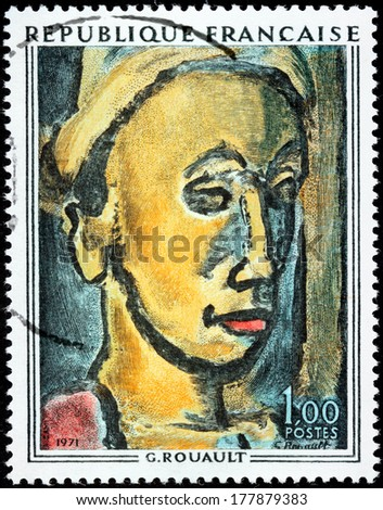 FRANCE - CIRCA 1971: A stamp printed by FRANCE shows painting The Dreamer by  French Fauvist and Expressionist painter Georges Henri Rouault, circa 1971