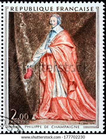 FRANCE - CIRCA 1974: A stamp printed by FRANCE shows portrait of Cardinal de Richelieu by French Baroque era painter Philippe de Champaigne, circa 1974 - stock photo